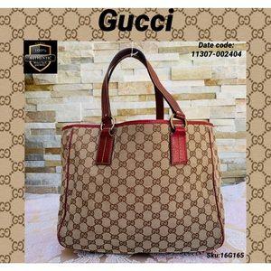 Gucci shoulder bag canvas red brown handbag